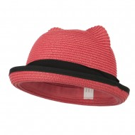 Girl's Youth Ear Crown Fedora - Coral