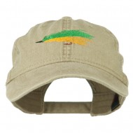 Fishing Green Fly Embroidered Washed Cap - Khaki