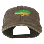 Fishing Green Fly Embroidered Washed Cap - Brown