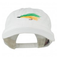 Fishing Green Fly Embroidered Washed Cap - White