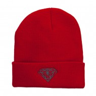 Grey Diamond Embroidered Cuffed Long Beanie - Red