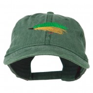 Fishing Green Fly Embroidered Washed Cap - Dark Green