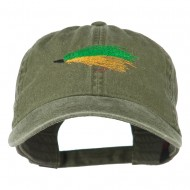 Fishing Green Fly Embroidered Washed Cap - Olive Green