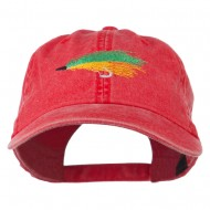 Fishing Green Fly Embroidered Washed Cap - Red