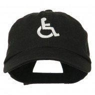 Handicapped Logo Embroidered Pigment Dyed Cotton Cap - Black