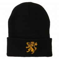 Heraldic Lion Embroidered Long Beanie - Black