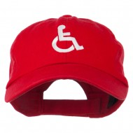 Handicapped Logo Embroidered Pigment Dyed Cotton Cap - Red
