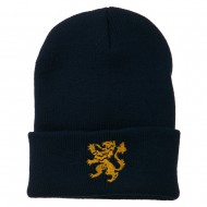 Heraldic Lion Embroidered Long Beanie - Navy