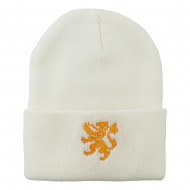 Heraldic Lion Embroidered Long Beanie - White