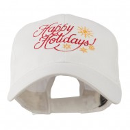 Christmas Happy Holidays Snow Flakes Embroidered Cap - White