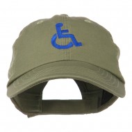 Handicapped Logo Embroidered Pigment Dyed Cotton Cap - Olive