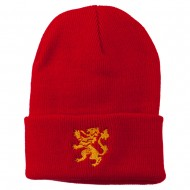 Heraldic Lion Embroidered Long Beanie - Red
