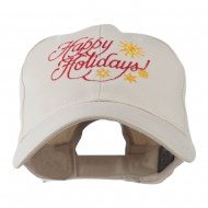 Christmas Happy Holidays Snow Flakes Embroidered Cap - Stone