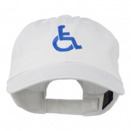 Handicapped Logo Embroidered Pigment Dyed Cotton Cap - White