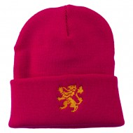 Heraldic Lion Embroidered Long Beanie - Hot Pink