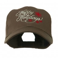 Christmas Happy Holidays Snow Flakes Embroidered Cap - Brown