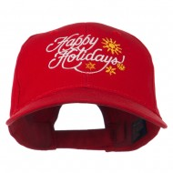 Christmas Happy Holidays Snow Flakes Embroidered Cap - Red