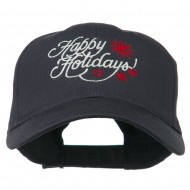 Christmas Happy Holidays Snow Flakes Embroidered Cap - Navy