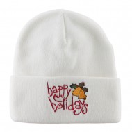 Happy Holidays with Bells Embroidered Long Beanie - White