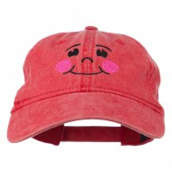 Happy Face Embroidered Washed Dyed Cap - Red