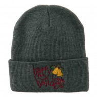 Happy Holidays with Bells Embroidered Long Beanie - Grey