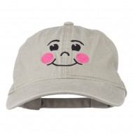 Happy Face Embroidered Washed Dyed Cap - Stone