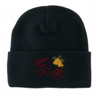 Happy Holidays with Bells Embroidered Long Beanie - Navy