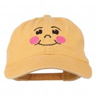 Happy Face Embroidered Washed Dyed Cap - Yellow