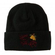 Happy Holidays with Bells Embroidered Long Beanie - Black