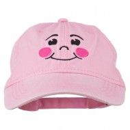 Happy Face Embroidered Washed Dyed Cap - Pink