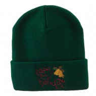 Happy Holidays with Bells Embroidered Long Beanie - Green