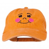 Happy Face Embroidered Washed Dyed Cap - Orange