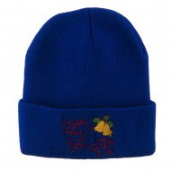 Happy Holidays with Bells Embroidered Long Beanie - Royal