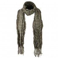 Crushed Houndstooth Checker Scarf - Brown