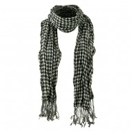 Crushed Houndstooth Checker Scarf - Black