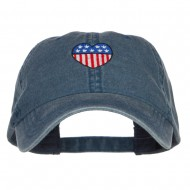 Patriotic USA Heart Embroidered Washed Cap - Navy