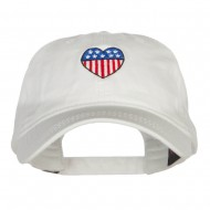 Patriotic USA Heart Embroidered Washed Cap - White