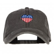 Patriotic USA Heart Embroidered Washed Cap - Black
