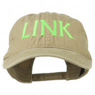 Halloween Character Link Embroidered Washed Dyed Cap - Khaki