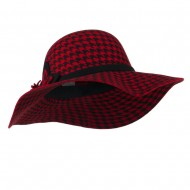 Houndstooth Wool Felt Hat - Red