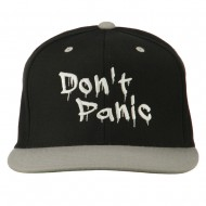 Halloween Don't Panic Embroidered Snapback Cap - Black Silver