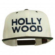 Hollywood Embroidered Two Tone Snapback Cap - Natural Black