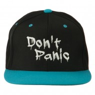 Halloween Don't Panic Embroidered Snapback Cap - Black Teal