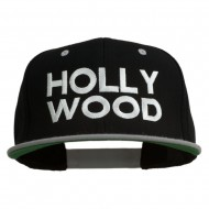 Hollywood Embroidered Two Tone Snapback Cap - Black Silver