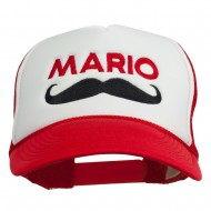 Mario Mustache Embroidered Foam Mesh Cap - Red White Red