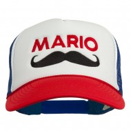 Mario Mustache Embroidered Foam Mesh Cap - Red White Royal