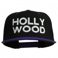 Hollywood Embroidered Two Tone Snapback Cap - Black Purple