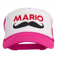 Mario Mustache Embroidered Foam Mesh Cap - Hot Pink White