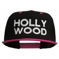 Hollywood Embroidered Two Tone Snapback Cap - Black Pink