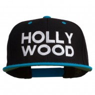 Hollywood Embroidered Two Tone Snapback Cap - Black Teal